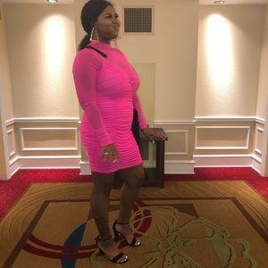 Neon Pink Scrunchy Dress